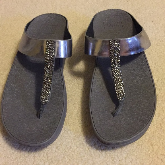 e0a01f371 Fitflop Shoes - Fitflop Fino Toe-Post Sandals Pewter Size 7